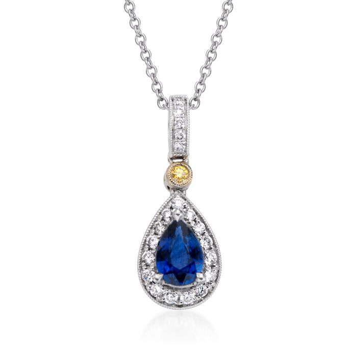 "Simon G. .53 Carat Sapphire and .16 Carat Total Weight Diamond Necklace in 18-Karat Two-Tone Gold. 17"", , default"