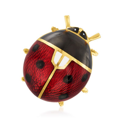 C. 1980 Vintage 18kt Yellow Gold Ladybug Pin with Multicolored Enamel