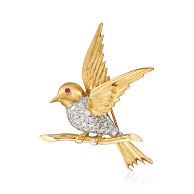 C. 1970 Vintage 1.30 ct. t.w. Diamond Bird Pin with Ruby Accent in 14kt Yellow Gold