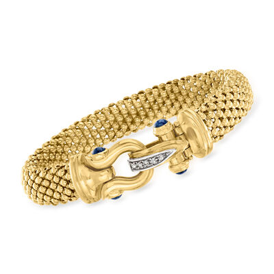 C. 1990 Vintage 1.00 ct. t.w. Sapphire and .10 ct. t.w. Diamond Bracelet in 14kt Yellow Gold