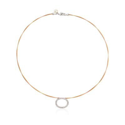 "ALOR ""Classique"" .21 ct. t.w. Diamond Oval Yellow and Rose Cable Necklace With 18kt Two-Tone Gold, , default"