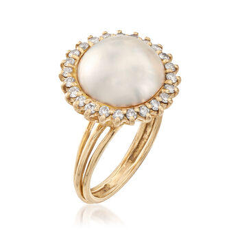C. 1980 Vintage 14mm Mabe Pearl and .65 ct. t.w. Diamond Ring in 14kt Yellow Gold. Size 8, , default