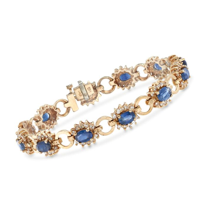 """C. 1975 Vintage 6.70 ct. t.w. Sapphire and 1.80 ct. t.w. Diamond Bracelet in 14kt Yellow Gold. 7"""", , default"""