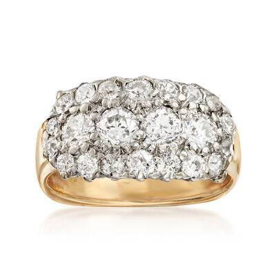 C. 1950 Vintage 1.70 ct. t.w. Diamond Cluster Ring with 14kt White Gold in 14kt Yellow Gold, , default