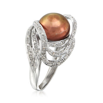 C. 1990 Vintage Brown Cultured Pearl and .25 ct. t.w. Diamond Swirl Ring in 14kt White Gold. Size 7.5, , default