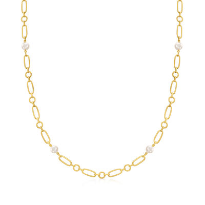 Mikimoto 6.5mm A+ Akoya Pearl Link Necklace in 18kt Yellow Gold