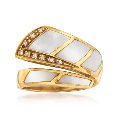 C. 1980 Vintage Mother-Of-Pearl and .12 ct. t.w. Diamond Bypass Ring in 18kt Yellow Gold, , default