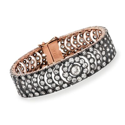 C. 1940 Vintage 12.50 ct. t.w. Diamond Bracelet in Sterling Silver and 10kt Rose Gold, , default