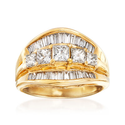 C. 1990 Vintage 1.45 ct. t.w. Baguette and Princess Diamond Ring in 14kt Yellow Gold, , default