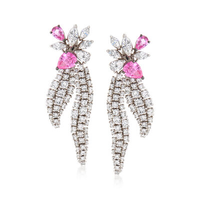 C. 1990 Vintage Stefan Hafner 6.70 ct. t.w. Diamond and 3.50 ct. t.w. Pink Sapphire Drop Earrings in 18kt White Gold
