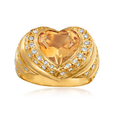 C. 1980 Vintage 1.50 Carat Citrine and .50 ct. t.w. Diamond Ring in 18kt Yellow Gold, , default
