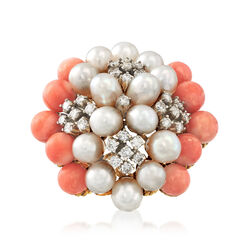 C. 1980 Vintage Cultured Pearl and .60 ct. t.w. Diamond Cluster Ring With Pink Coral in 14kt Gold, , default