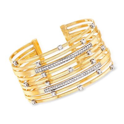 1.20 ct. t.w. Diamond Cuff Bracelet in 14kt Yellow Gold, , default