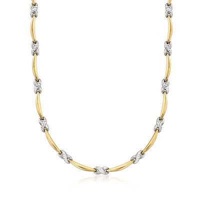 C. 1980 Vintage 14kt Two-Tone Gold Bar and X-Link Necklace