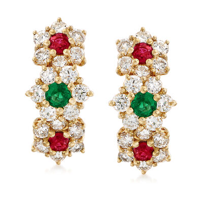 C. 1990 Vintage 1.90 ct. t.w. Diamond and .20 ct. t.w. Ruby Clip-On Earrings with Emeralds in 18kt Gold, , default
