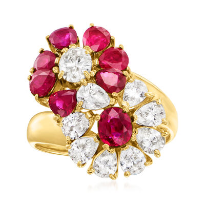 C. 1990 Vintage 2.60 ct. t.w. Ruby and 1.56 ct. t.w. Diamond Flower Ring in 18kt Yellow Gold