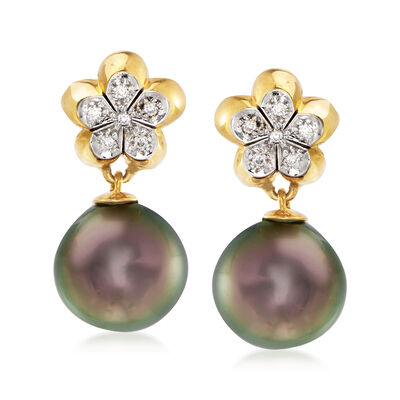 C. 1980 Vintage Assael 11mm Black Cultured Pearl and .12 ct. t.w. Diamond Flower Drop Earrings in 18kt Yellow Gold