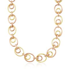C. 1950 Vintage 14kt Two-Tone Gold Oval-Link Necklace, , default