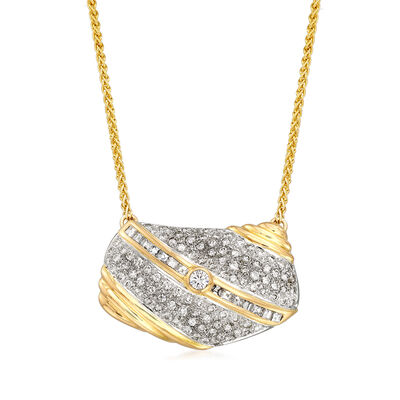 C. 1990 Vintage 2.95 ct. t.w. Diamond Purse Necklace in 14kt Yellow Gold, , default