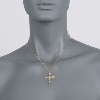 "Roberto Coin Barocco 18-Karat Yellow Gold Cross Necklace with Diamond Accent. 17"", , default"