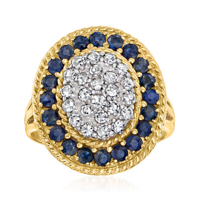 C. 1980 Vintage .80 ct. t.w. Sapphire and .60 ct. t.w. Diamond Ring in 14kt Yellow Gold