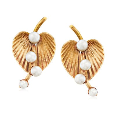 C. 1960 Vintage 3-4mm Cultured Pearl Leaf Earrings in 14kt Yellow Gold