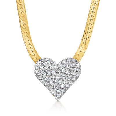 C. 1980 Vintage 1.60 ct. t.w. Diamond Heart Necklace in 14kt Yellow Gold