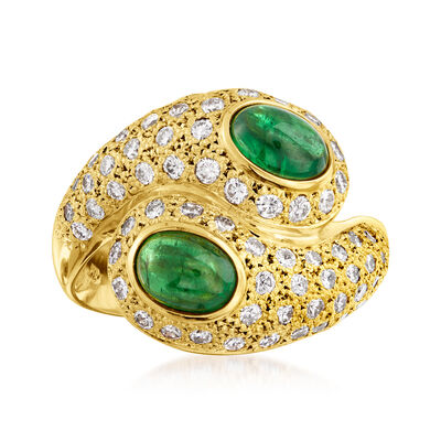 C. 1980 Vintage 2.24 ct. t.w. Tsavorite and 1.12 ct. t.w. Diamond Bypass Ring in 18kt Yellow Gold