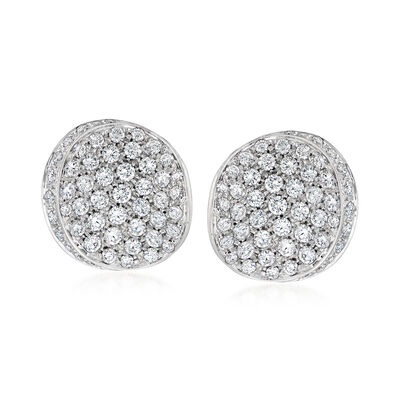 C. 1990 Vintage 2.02 ct. t.w. Diamond Curved Disc Earrings in 18kt White Gold, , default