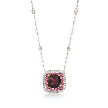 "Gregg Ruth 1.91 Carat Total Weight Garnet and .27 Carat Total Weight Diamond Necklace With .30 ct. t.w. Rhodolite Garnets in 18-Karat White Gold. 18"", , default"