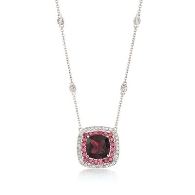 Gregg Ruth 1.91 Carat Garnet and .27 ct. t.w. Diamond Necklace With Rhodolites in 18kt White Gold, , default