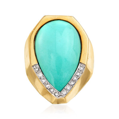 C. 1980 Vintage Turquoise and Diamond Ring in 18kt Yellow Gold, , default