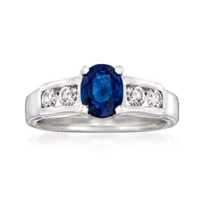 C. 1990 Vintage 1.15 Carat Sapphire Ring with .40 ct. t.w. Diamonds in 14kt White Gold