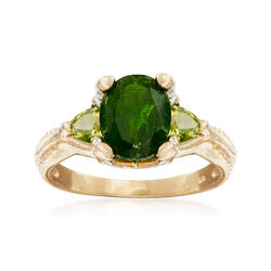 C. 2000 Vintage 1.80 Carat Chrome Diopside and .48 ct. t.w. Peridot Ring in 14kt Yellow Gold, , default