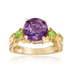 C. 1990 Vintage 1.00 Carat Amethyst and .50 ct. t.w. Peridot Ring in 10kt Yellow Gold, , default