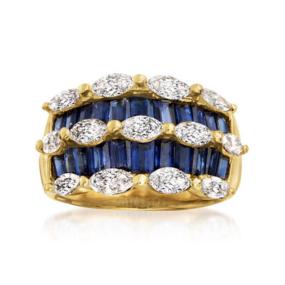 C. 1980 Vintage 2.64 ct. t.w. Sapphire and 1.45 ct. t.w. Diamond Ring in 18kt Yellow Gold