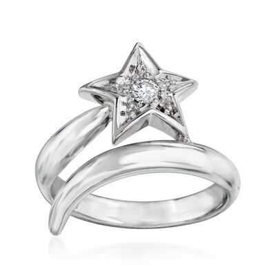 C. 1990 Vintage Chanel .10 Carat Diamond Star Bypass Ring in 18kt White Gold