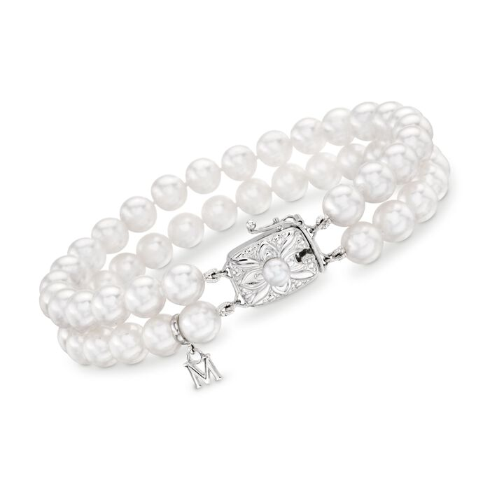 "Mikimoto 6.5-6mm 'A' Akoya Pearl Double-Strand Bracelet in 18-Karat White Gold. 7"", , default"