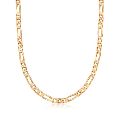 C. 1990 Vintage 14kt Yellow Gold Figaro Chain Necklace, , default