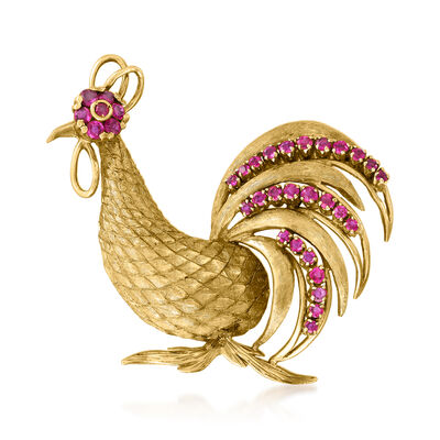 C. 1960 Vintage 1.00 ct. t.w. Ruby Chicken Pin in 18kt Yellow Gold