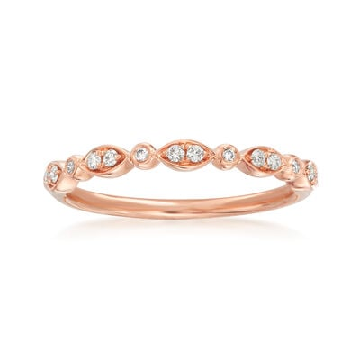 Henri Daussi .11 ct. t.w. Diamond Wedding Ring in 14kt Rose Gold, , default