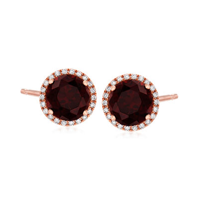 C. 1990 Vintage 2.80 ct. t.w. Garnet and .20 ct. t.w. Diamond Earrings in 14kt Rose Gold