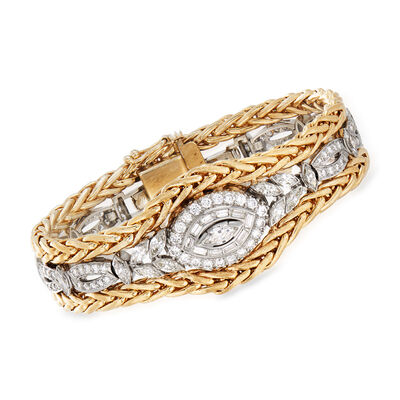 C. 1980 Vintage 5.55 ct. t.w. Diamond Belly Bracelet in Platinum and 14kt Yellow Gold, , default