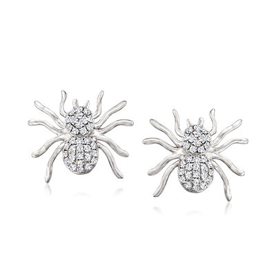 C. 1990 Vintage .32 ct. t.w. Diamond Spider Earrings in 14kt White Gold