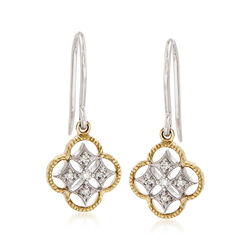 Simon G. 18kt Two-Tone Gold Openwork Clover Drop Earrings With Diamond Accents, , default