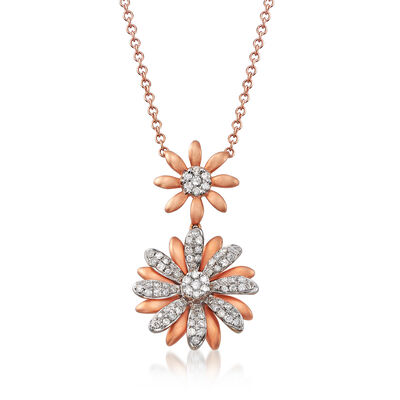 C. 1990 Vintage Giantti .34 ct. t.w. Diamond Double-Flower Necklace in 18kt Rose Gold, , default