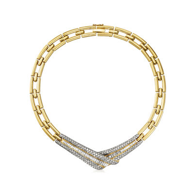 C. 1990 Vintage 15.00 ct. t.w. Diamond Fancy Link Necklace in 18kt Yellow Gold, , default