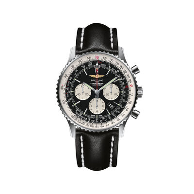 Breitling Navitimer 01 Chronograph Men's 46mm Stainless Steel Watch - Black Leather Strap, , default