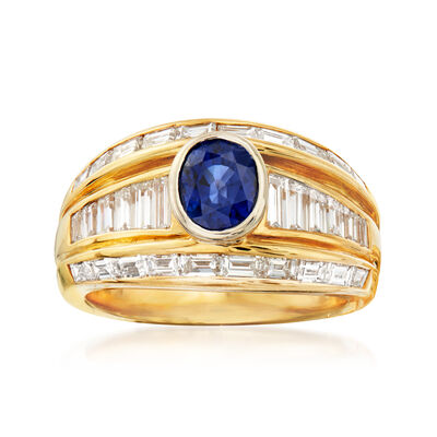 C. 1980 Vintage 1.33 Carat Sapphire and 1.78 ct. t.w. Diamond Ring in 18kt Yellow Gold
