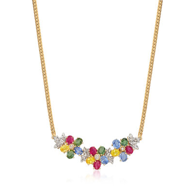 C. 1990 Vintage 5.70 ct. t.w. Multicolored Sapphire and .15 ct. t.w. Diamond Necklace in 14kt Yellow Gold, , default